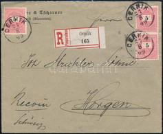 "1899 6 X 5kr Ajánlott Levélen / On Registered Cover ""CERNIK"" - Svájc - Unclassified"