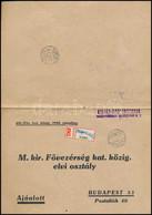 1940 Ajánlott Levél Nagyváradról Kisegítő Számbélyegzéssel és Ragjeggyel Budapestre - Unclassified