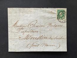 OBP 30 Op Briefomslag IXELLES (BRUXELLES) - MOUSTIER SUR SAMBRE (Pres Namur) - 1869-1883 Leopoldo II