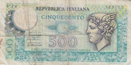 Italy #95, 500 Lire 1976 Banknote - 500 Liras