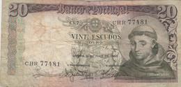Portugal #167b, 20 Escudos 1964 Banknote - Portugal
