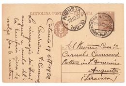WQ231   Regno 1932 - Cartolina Postale Risposta Per Augusta Con Annullo Frazionario (60-2) - Poststempel