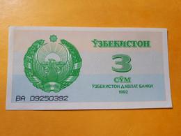 OUZBEKISTAN 3 SOM 1992 BILLET NEUF - Uzbekistan