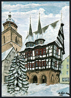 E9962 - TOP Glückwunschkarte Alsfeld Rathaus Winterlandschaft - Künstlerkarte Naive Malerei - Non Classés