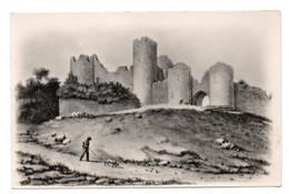 CPA Yevre Le Chatel Ruines Du Chateau En 1830 Un Promeneur Et So Chien D'aprés Lithographie - Other Municipalities