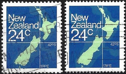New-Zealand 1982 - Mi 840A/C - YT 810/10a  ( Map Of Country ) - Used Stamps