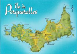 Cartes Géographiques - 83 ( Var )( ILE DE PORQUEROLLES ) Vue Unique De L'Ile - Cpm - Vierge - - Maps