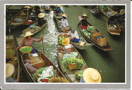 Asie. CPM. Thaïlande. The Floating Market At Damnernsaduok In Rajchaburi. (animée, Marché Sur L'eau, Pirogues) - Thailand