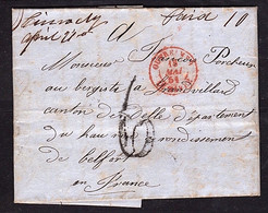 Courrier Cachet OUTRE-MER Rouge - Ligne Du Havre - Par Paris Pour Delle - RARE - à VOIR - LUXE - 1849-1876: Classic Period