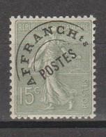 Préo Semeuse Lignée 15c Vert Olive - 1893-1947