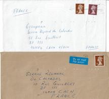 2 Lettres Pour La France - Tp Elysabeth II - Indexation Des Lettres Par Points - Briefe U. Dokumente