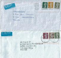 2 Lettres Pour La France - Tp Elysabeth II - Indexation Des Lettres Par Barres - Briefe U. Dokumente