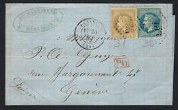 FRANCE 1870: DDL De LAC Avec Les Y&T 28B,29B De Besançon à Genève, Obl. GC 456 - 1862 Napoleon III