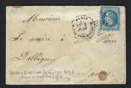 """FRANCE 1868:  LAC Avec Le Y&T 29B De Paris à Dalbigny , Obl. étoile """"7"""" - 1862 Napoleon III"""