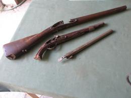épaves : 2 Canons Pistolets Orientales /crosse Fusil De Chasse XVIIIme - Armi Da Collezione