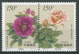 China 1997 WELLINGTON Blumen Rosen 2837/38 ZD Postfrisch - Unused Stamps