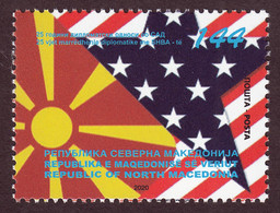 North Macedonia 2020 25 Years Diplomatic Relations With USA America Flags MNH - Macedonia