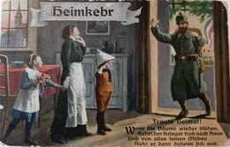 AK Heimkehr - Deutscher Soldat Mit Familie - Patriotika - Feldpost 1915 (55658) - Weltkrieg 1914-18
