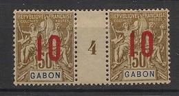 Gabon - 1912 - N°Yv. 74 - Groupe 10 Sur 50c - Paire Millésimée - Neuf * / MH VF - Neufs