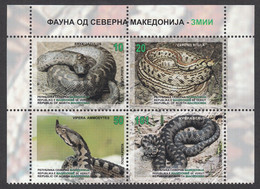 North Macedonia 2020 Fauna Reptiles Snakes Eryx Jaculus Zamenis Situla Vipera Ammodytes Vipera Berus, Set MNH - Macedonia