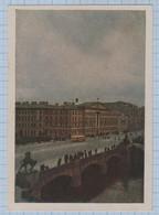 USSR Vintage Postcard Soviet Union RUSSIA Leningrad Fontanka, 17. Here Nekrasov Visited Belinsky. Architecture 1952 - Russia