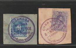 1901-09-FRAGM-Edifil: 248, 270. ALFONSO XIII-CADETE Y MEDALLON. Mat 1ER CONGESO FILAT ESPAÑOL Y 1ª EXP FILATELICA ESPAÑA - Oblitérés