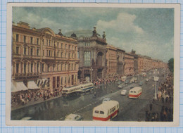 USSR Vintage Photo Postcard Soviet Union  RUSSIA Leningrad. Nevsky Prospekt. Architecture. Cars. Transport. Buses 1955 - Russia