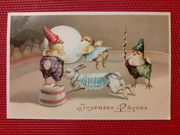 CPA GAUFREE - JOYEUSES PAQUES - Lapin, Poussins Sur La Piste Du Cirque - Ostern
