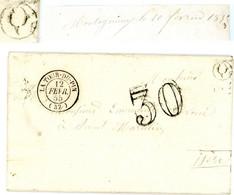 ISERE LAC 1855 LA TOUR DU PIN TYPE 15 TAXE 30 + BOITE RURALE Q = MONTAGNEUX => ST MARCELIN - 1849-1876: Classic Period