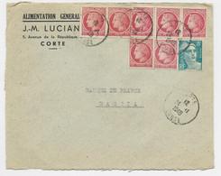 MAZELIN 1FRX7+ 8FR GANDON TURQUOISE LETTRE CORTE CORSE 24.11.1949 AU TARIF - 1945-47 Ceres De Mazelin