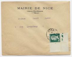 PASTEUR 10C BDF SEUL LETTRE NICE 25.5.1923 1ER JOUR DU TIMBRE FDC - 1922-26 Pasteur