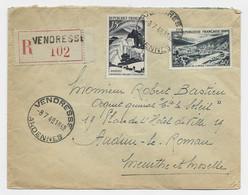 N°829+842A LETTRE REC HOROPLAN VENDRESSE 8.7.1948 ARDENNES - 1921-1960: Modern Period