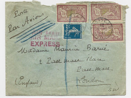 MERSON 1FRX3  1 DECHIRE +N° 140 LETTRE EXPRES AVION PARIS 24.6.1920 POUR LONDRES RARE B/TB - Posta Aerea
