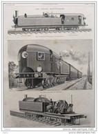 Trains électriques - Locomotive électrique J. J. Heilmann - Dessin Poyet - Page Original - 1893 - Historical Documents