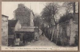CPA 75 - PARIS - La BUTTE MONTMARTRE - La Rue SAINT-VINCENT - TB PLAN Petite Rue + CABARET à Gauche + Balayeur De Rue - Ohne Zuordnung