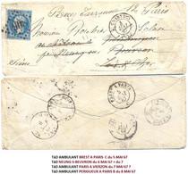LSC EURE-ET-LOIR CHARTRES TàD 4 MAI 67  GC 908 => NEUNG-SUR-BEUVRON LOIR-ET-CHER Réexpédié => PARIS - 1849-1876: Classic Period