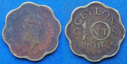 CEYLON - 10 Cents 1944 KM# 118 George VI (1936-1952) - Edelweiss Coins - Sri Lanka