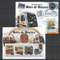 ST1016 2015 GUINE GUINEA-BISSAU TRANSPORT TRAINS MOSCOW METRO 1KB+1BL MNH - Trains
