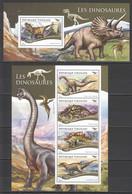 TG158 2015 TOGO TOGOLAISE FAUNA REPTILES PREHISTORIC ANIMALS DINOSAURS 1KB+1BL MNH - Préhistoriques