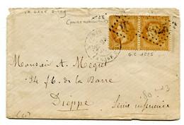 PARIS Dateur LA  GARE D IVRY Sur Env. Du 25/07/1870  Avec N°28 En Paire  Oblitéré GC 1625 - Poste Ferroviaire