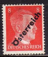 AUSTRIA ÖSTERREICH 1945 HITLER GERMANY OVERPRINTED SOPRASTAMPATO DI GERMANIA 8pf MH - 1945-60 Ongebruikt