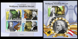 S. TOME & PRINCIPE 2021 - Wolfgang Amadeus Mozart. M/S + S/S. Official Issue [ST210118] - Sao Tome And Principe