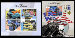 S. TOME & PRINCIPE 2021 - Chuck Yeager, Planes. M/S + S/S. Official Issue [ST210123] - Sao Tome And Principe