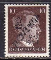 SLOVENIA Slovenija YUGOSLAVIA JUGOSLAVIA 1945 HITLER GERMANY OVERPRINTED SOPRASTAMPATO DI GERMANIA SURCHARGED 10pf MH - Ongebruikt