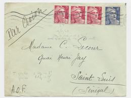 GANDON 3FRX3+4FR BLEU LETTRE AVION ASNIERES CENTRE  1 JANV 1947 POUR SENEGAL 1ER JOUR TARIF MAIS AFFR TARIF LA VEILLE - 1945-54 Marianne (Gandon)