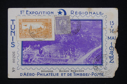 TUNISIE - Carte Postale De La 1ère Exposition D'Aéro Philatélie De Tunis En 1932 Avec Vignette, Dans L 'état - L 95483 - Covers & Documents