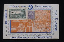 TUNISIE - Carte Postale De La 1ère Exposition D'Aéro Philatélie De Tunis En 1932 Avec Vignette  - L 95484 - Covers & Documents
