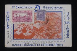 TUNISIE - Carte Postale De La 1ère Exposition D'Aéro Philatélie De Tunis En 1932 Avec Vignette  - L 95485 - Covers & Documents