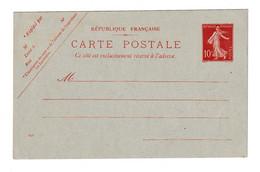 Frfance Postal Stationery Postcard Carte Postale 10c Semeuse Unused B210410 - Standaardpostkaarten En TSC (Voor 1995)