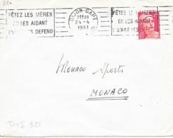 """RBV Dijon-Gare 24-4 1951 """" Fêtez Les Mères En Les Aidant L'UNAF Les Defend """" - Mechanische Stempels (reclame)"""